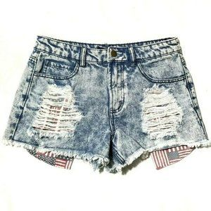 Forever 21 High Rise Patriotic Jean Shorts USA